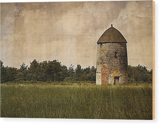Windmill Wood Print by Lesley Rigg