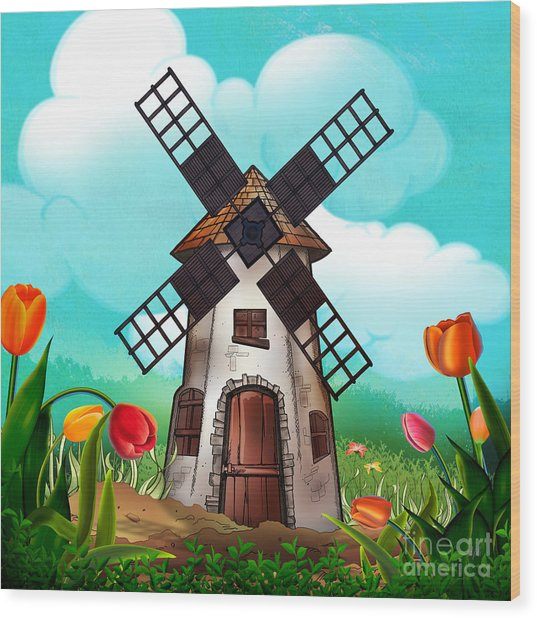 Windmill Path Wood Print
