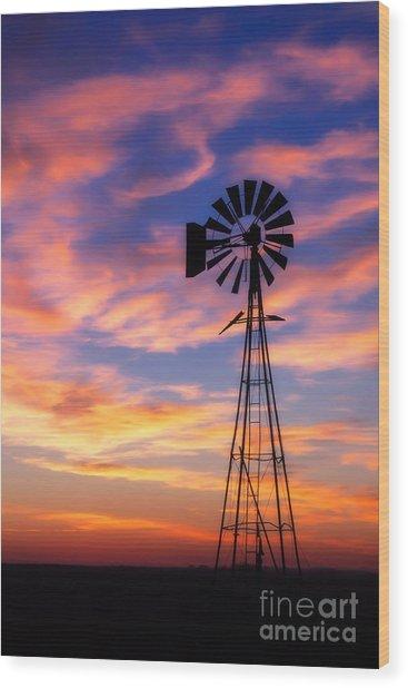 Windmill Silhouette 1 Wood Print