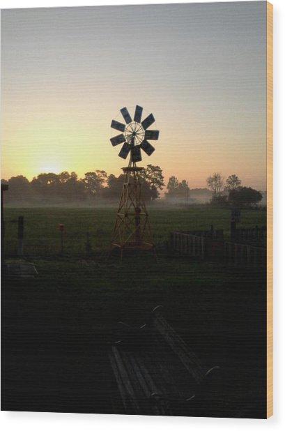 Windmill Sunrise Wood Print