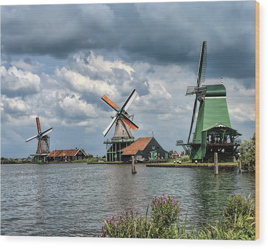 Windmill Trio Wood Print