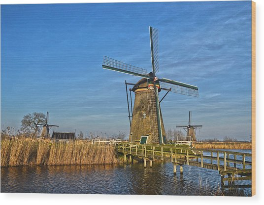 Windmills And Bridge Near Kinderdijk Wood Print