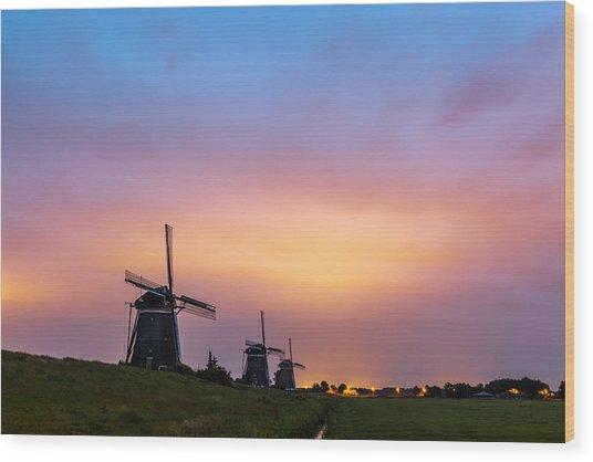 Windmills At Dawn Wood Print