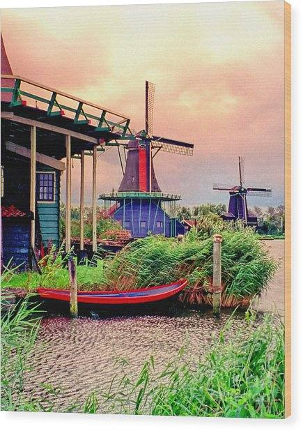 Windmills Storm Coming Wood Print