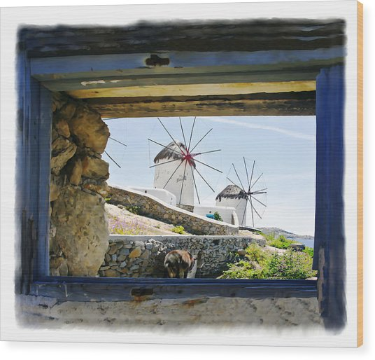 Windmills Through The Window Wood Print by Leanne Vorrias