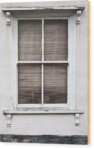 Window And Blind Wood Print
