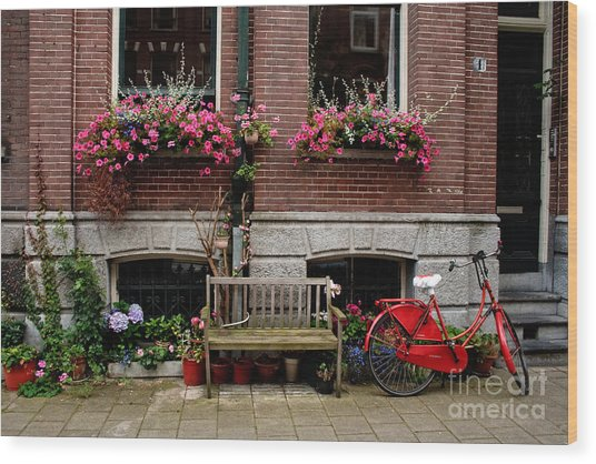 Window Box Bicycle And Bench  -- Amsterdam Wood Print