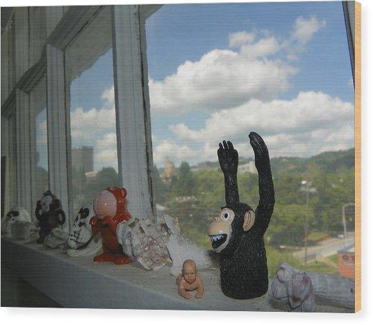 Window Buddies Wood Print by Bernie Smolnik