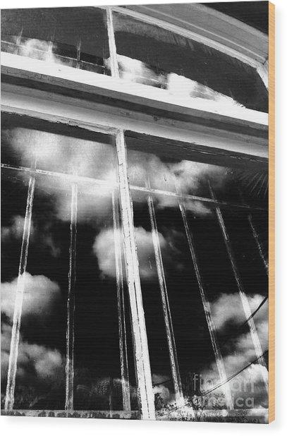 Window Clouds Wood Print