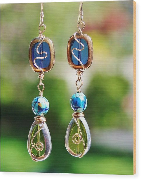 Window Earrings Wood Print