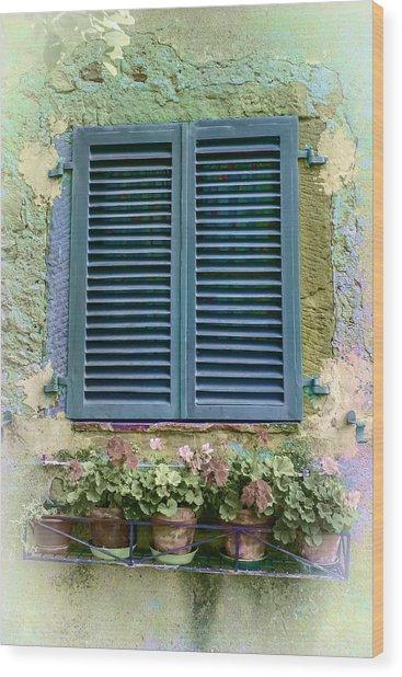 Window In Cortona - Texture Added Wood Print