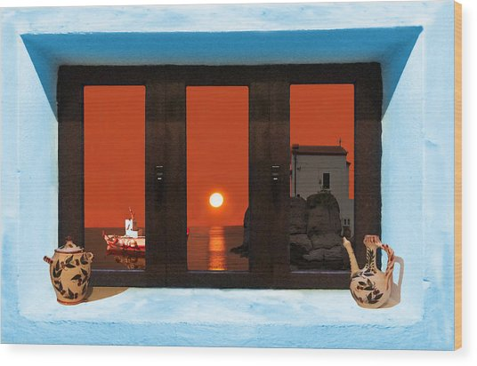 Window Into Greece 4 Wood Print