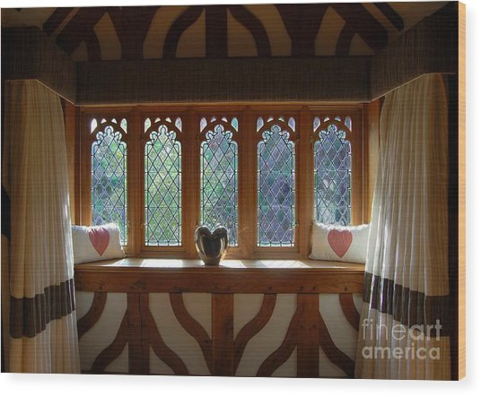 Window Of Hearts Wood Print
