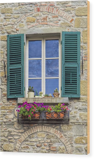 Window Of Tuscany With Green Wood Shutters Wood Print
