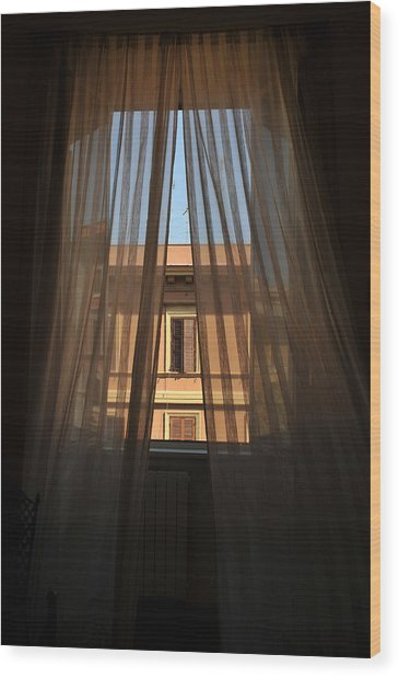 Window On Rome Wood Print