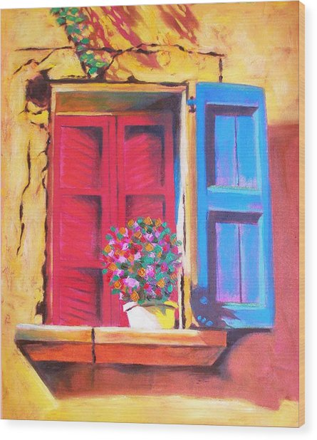 Window On The Rue In Roussillon France Wood Print by Susi Franco