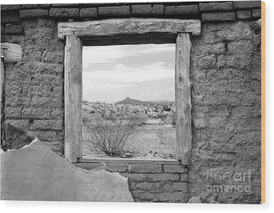 Window Onto Big Bend Desert Southwest Black And White Wood Print