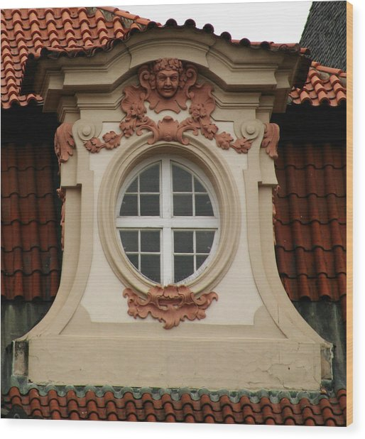 window Prague Wood Print
