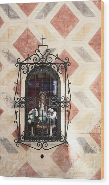 Window Saint Wood Print by Agnieszka Kubica