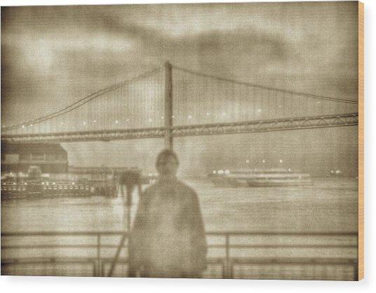 window self-portrait Embarcadero San Francisco Wood Print
