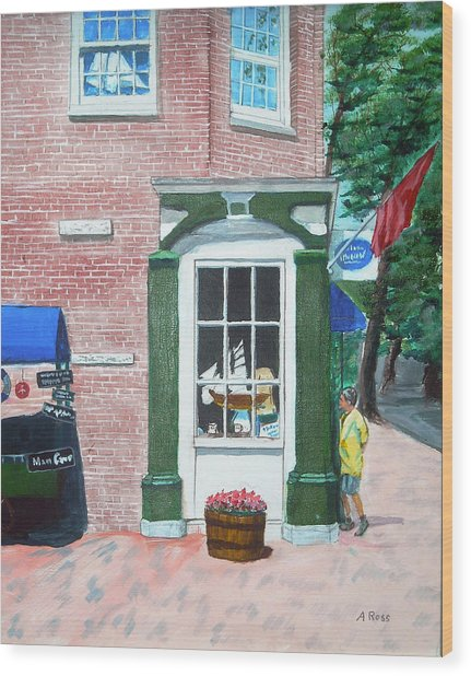 Window Shopping Newburyport Wood Print by Anthony Ross
