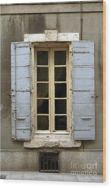 Window Shutters In Europe Wood Print