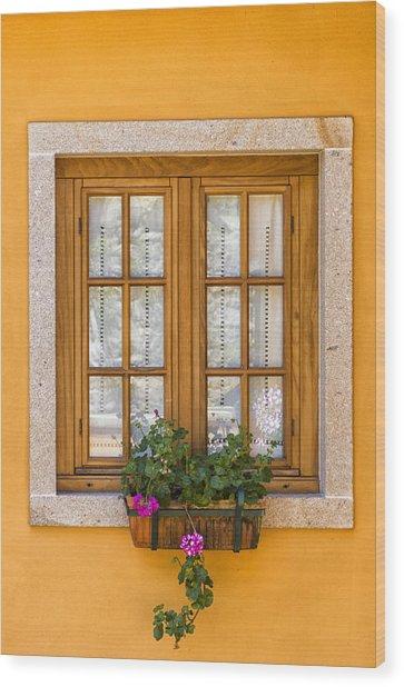 Window With Flowers Wood Print