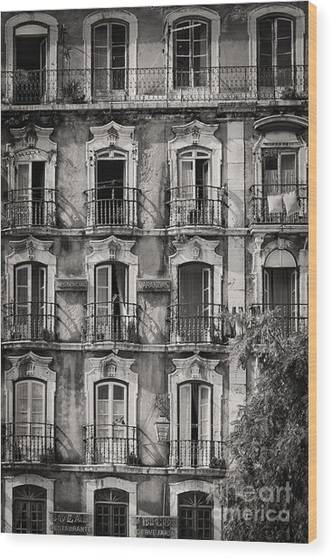 Windows And Balconies 1 Wood Print
