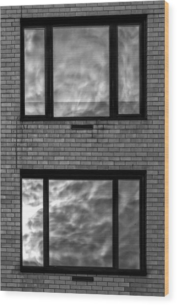 Windows And Clouds Wood Print by Robert Ullmann