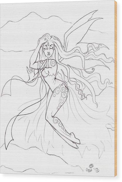 Windsprite Sketch Wood Print by Coriander  Shea