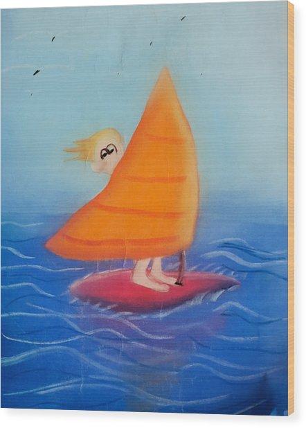 Windsurfer Dude Wood Print