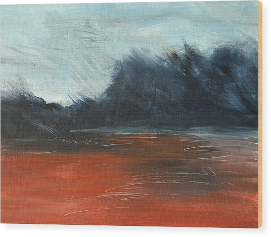 Wood Print featuring the painting Windy Beach by Jani Freimann