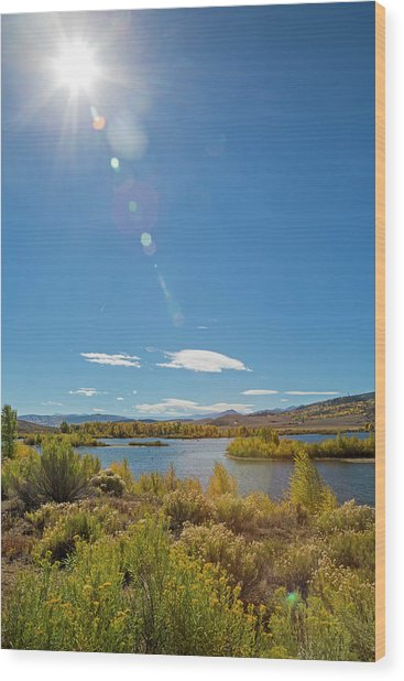 Windy Gap Reservoir Wood Print by Jim West/science Photo Library