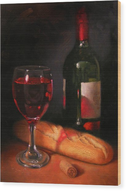Wine And Baguette Wood Print by Timothy Jones