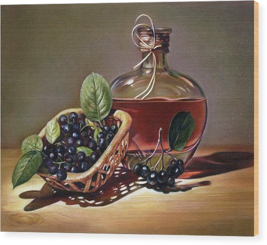 Wine And Berries Wood Print