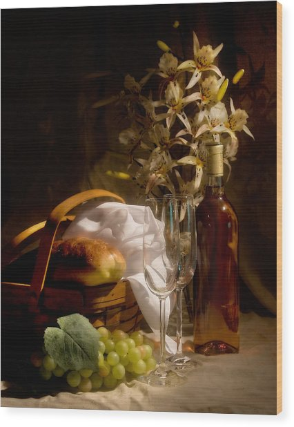 Wine And Romance Wood Print