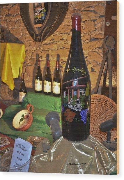 Wine Bottle On Display Wood Print