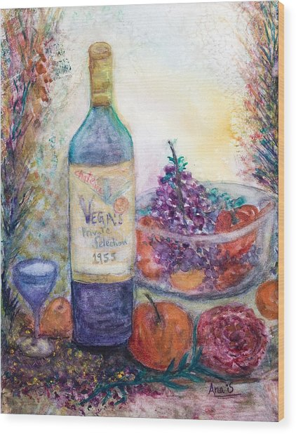 Wine Bottle Selection  Wood Print by Anais DelaVega
