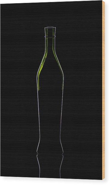 Wine Bottle Silhouette Wood Print by Alex Sukonkin