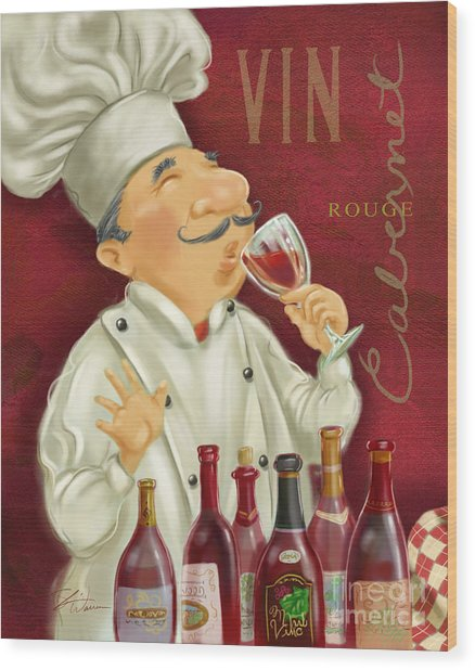 Wine Chef I Wood Print