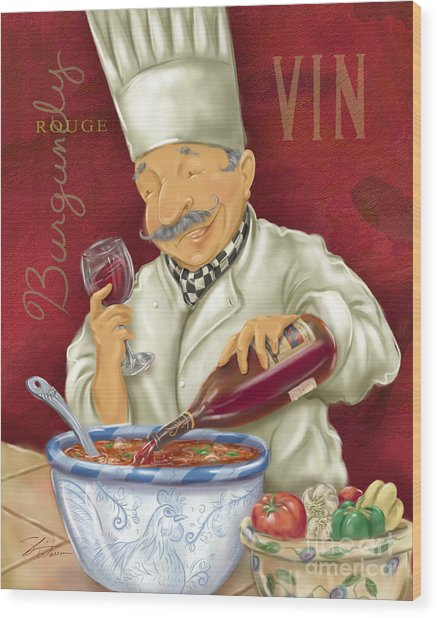 Wine Chef II Wood Print