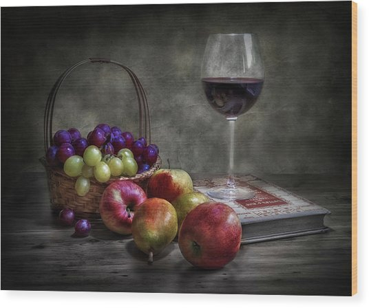 Wine, Fruit And Reading. Wood Print by Fran Osuna