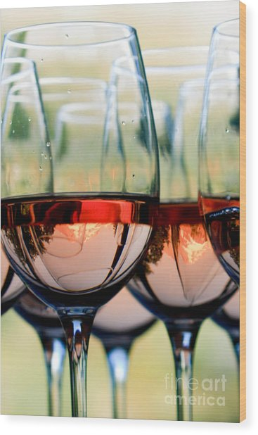 Wine Glasses Filled With Mount Hood Wood Print by Cari Gesch