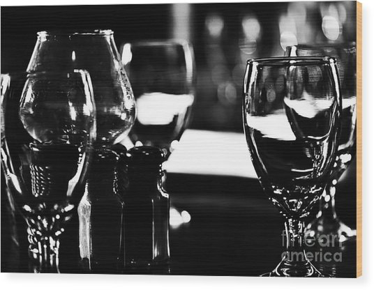 Wine Glasses On Table Wood Print