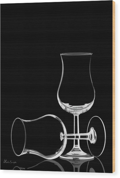 Wine Glasses  Wood Print