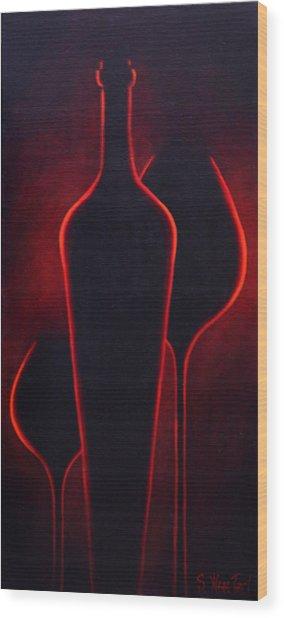 Wine Glow Wood Print