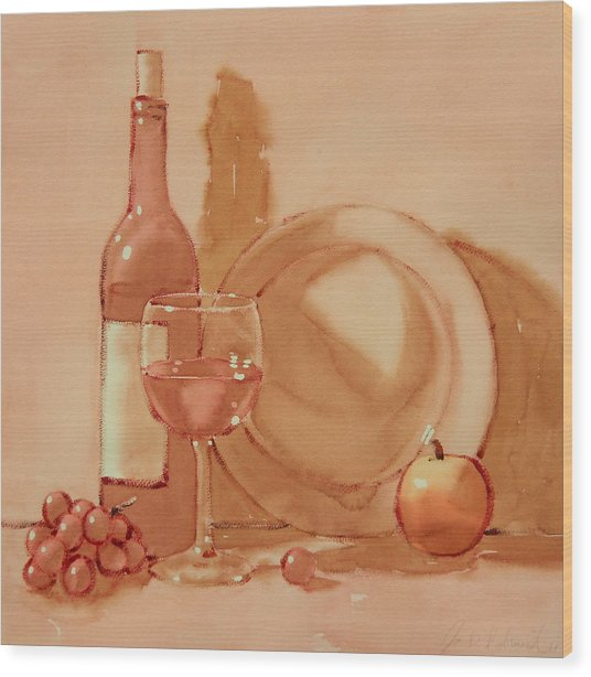 Wine Still Life Wood Print by Joe Schneider