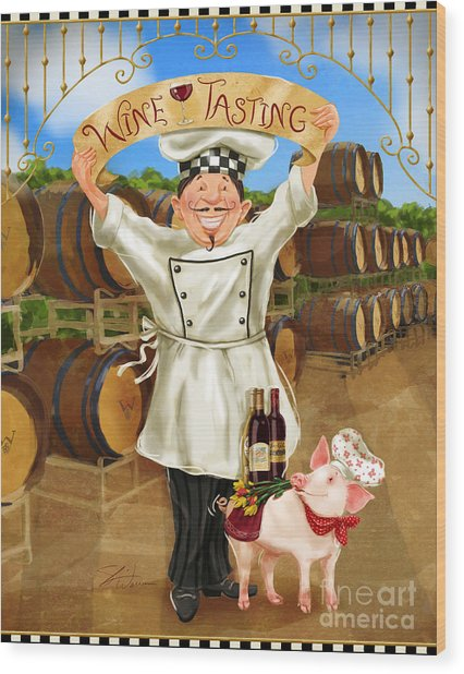 Wine Tasting Chef Wood Print
