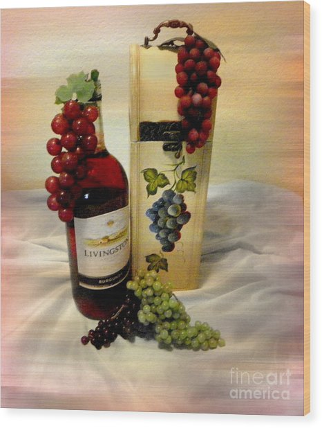 Wine To Be Enjoyed Wood Print by Carol Grenier