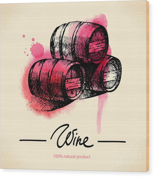 Wine Vintage Background. Watercolor Wood Print